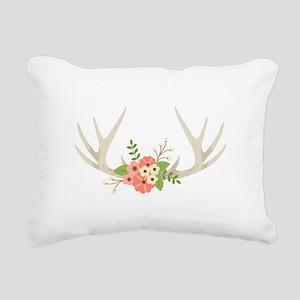 Deer Antler Flowers Rectangular Canvas Pillow