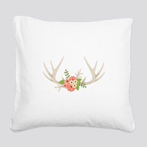 Deer Antler Flowers Square Canvas Pillow