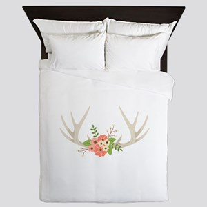 Deer Antler Flowers Queen Duvet