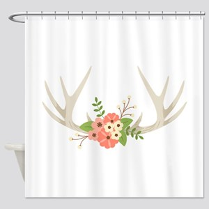 Deer Antler Flowers Shower Curtain