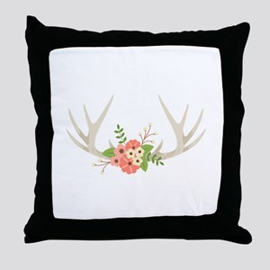 Deer Antler Flowers Throw Pillow