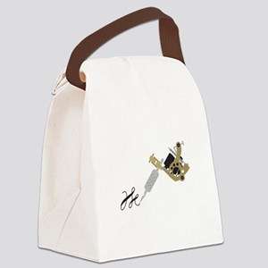 Tattoo Gun Canvas Lunch Bag