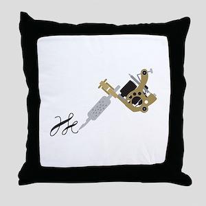 Tattoo Gun Throw Pillow