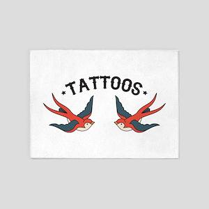 Tattoo Sparrows 5'x7'Area Rug