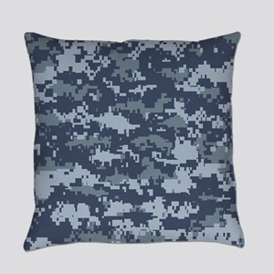 Blue pixels camouflage Everyday Pillow