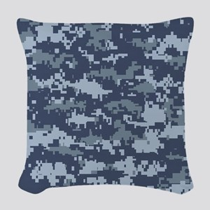 Blue pixels camouflage Woven Throw Pillow
