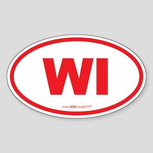 Wisconsin WI Euro Oval Sticker (Oval)
