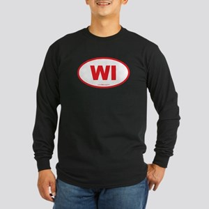 Wisconsin WI Euro Oval Long Sleeve Dark T-Shirt