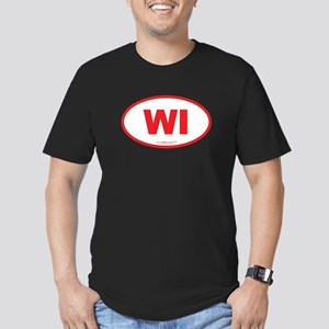 Wisconsin WI Euro Oval Men's Fitted T-Shirt (dark)
