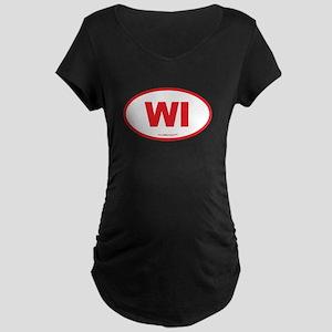 Wisconsin WI Euro Oval Maternity Dark T-Shirt