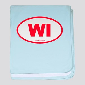 Wisconsin WI Euro Oval baby blanket