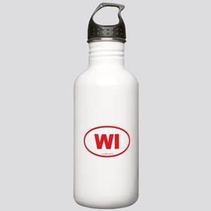 Wisconsin WI Euro Oval Stainless Water Bottle 1.0L