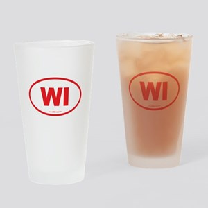 Wisconsin WI Euro Oval Drinking Glass