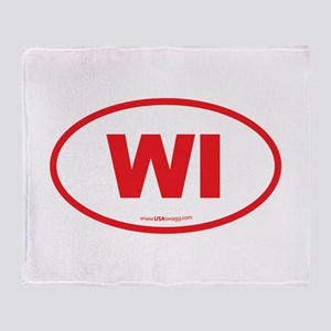 Wisconsin WI Euro Oval Throw Blanket