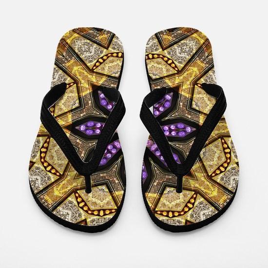 Batik Bohemian Purple Star Flip Flops