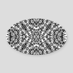 Tribal Shaman DMT Black White Oval Car Magnet