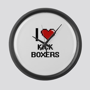 I love Kick Boxers digital design Large Wall Clock