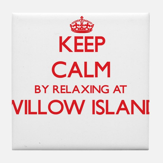 Keep calm by relaxing at Willow Islan Tile Coaster
