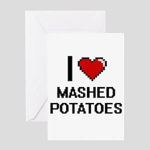 I love Mashed Potatoes digital desi Greeting Cards