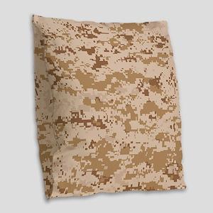 Desert pixels Camouflage Burlap Throw Pillow