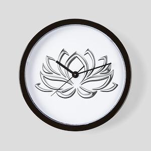 silver lotus Wall Clock