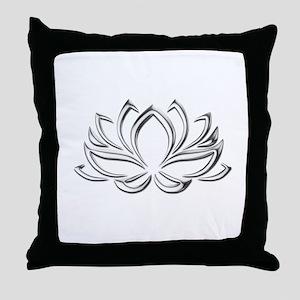 silver lotus Throw Pillow
