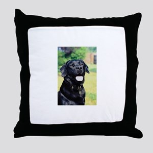 Black Lab Photo Throw Pillow