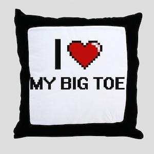 I love My Big Toe digital design Throw Pillow