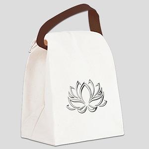 silver lotus Canvas Lunch Bag