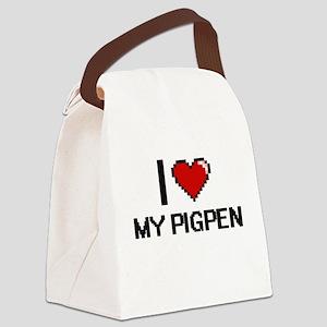 I love My Pigpen digital design Canvas Lunch Bag