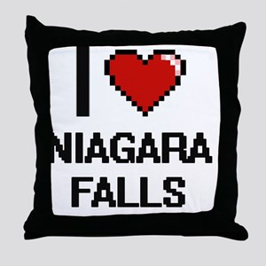 I love Niagara Falls digital design Throw Pillow