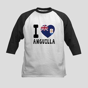 I Love Anguilla Kids Baseball Jersey
