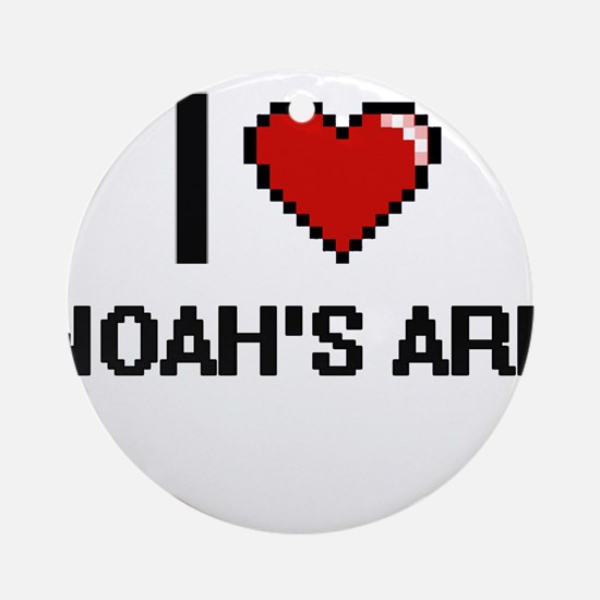 I love Noah'S Ark digital design Round Ornament