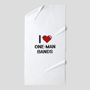 I love One-Man Bands digital design Beach Towel