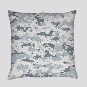 Snow pixels camouflage Everyday Pillow