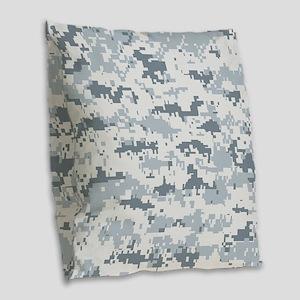 Snow pixels camouflage Burlap Throw Pillow