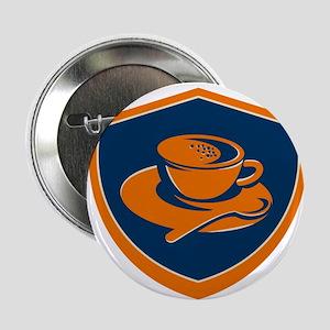 "Coffee Cup Teaspoon Crest Retro 2.25"" Button (10 p"