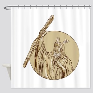 Moses Raising Staff Circle Etching Shower Curtain