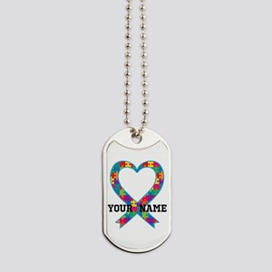 Autism Ribbon Heart Personalized Dog Tags