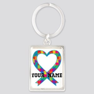 Autism Ribbon Heart Personalized Keychains