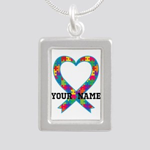 Autism Ribbon Heart Personalized Necklaces