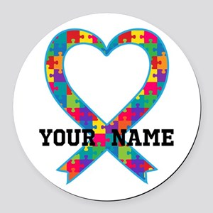 Autism Ribbon Heart Personalized Round Car Magnet