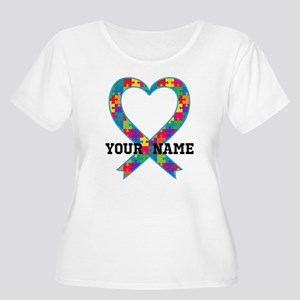 Autism Ribbon Heart Personalized Plus Size T-Shirt