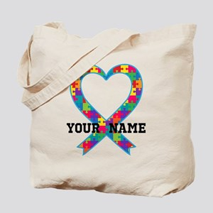 Autism Ribbon Heart Personalized Tote Bag
