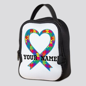 Autism Ribbon Heart Personalized Neoprene Lunch Ba