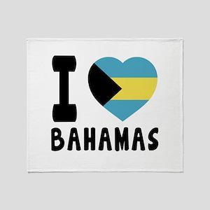 I Love Bahamas Throw Blanket