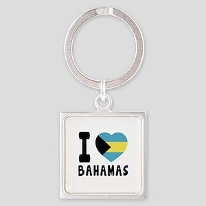 I Love Bahamas Square Keychain