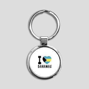 I Love Bahamas Round Keychain