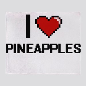 I love Pineapples digital design Throw Blanket