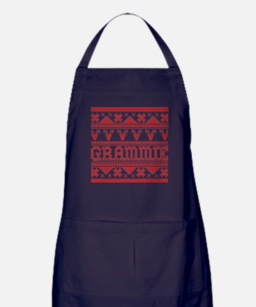 Christmas Ugly Xmas Sweater Grammie Apron (dark)